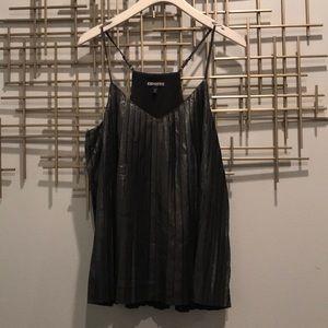 Pleated, shimmer Express V neck (S)